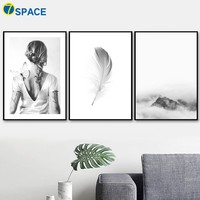 Natural Feather Mountain Woman Wall Art Canvas Painting Nordic Posters And Prints Decoration Pictures For Living Room Home Decor