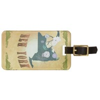 New York Map With Lovely Birds Tags For Bags