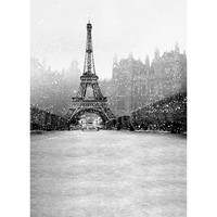 3x5ft Vinyl Snowflake Eiffel Tower Photography Background Photographic Backdrops For Studio Photo Props Cloth 90cmx150cm