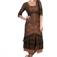 Nataya 2101 Women's Titanic Vintage Style Tea Party Dress in Terracotta