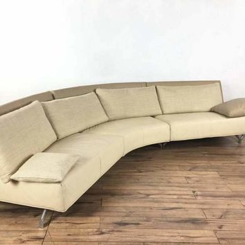 Mid-Century Modern Style Leather Upholstered Metal Sectional Sofa