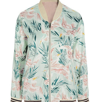 Carrie Floral Fusion Print Bomber Jacket