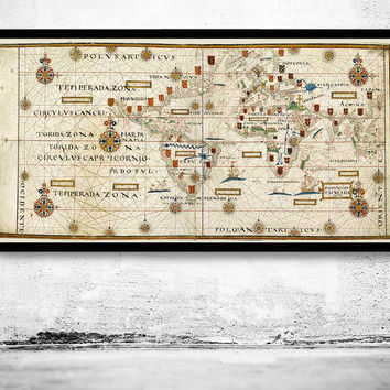 Old World Map Portuguese Discoveries 1573