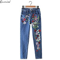 Gamiss Women Flower Embroidery Jeans Autumn Winter Casual leisure Light blue Straight Jeans Women Bottom Capris Pants Trousers