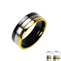 Rock 'n' Royalty - FINAL SALE Class and Style Onyx and Gold Ion Plated Black and Titanium Couples Choice Comfort Fit Ring