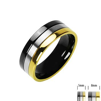 Rock 'n' Royalty - Class and Style Onyx and Gold Ion Plated Black and Titanium Couples Choice Comfort Fit Ring
