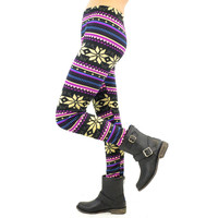 Majestic Purple Snowflake Leggings - One