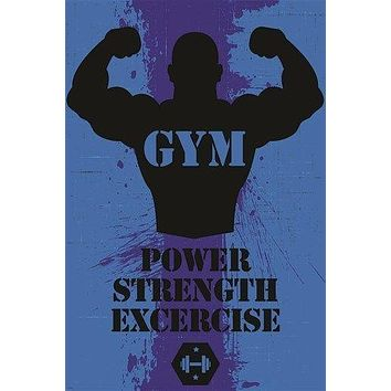 INSPIRATIONAL MOTIVATIONAL gym poster POWER STRENGTH EXCERCISE workout 24X36