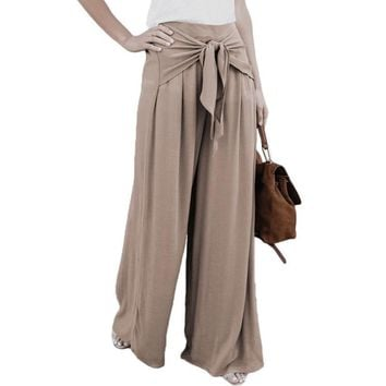 Women Lace Up Loose High Waist Wide Leg Bell Bottom Long Palazzo Flare Pants