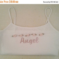 salexox Limited edition white ANGEL tanktop ddlg pink glitter roses ALL SIZES