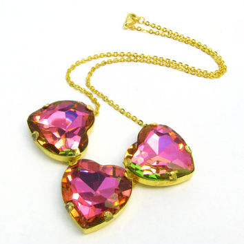 Tourmaline Hearts Necklace - Large Crystal Necklace w/ Watermelon Colors, Bright Pink & Lime Green - Delicate Statement Costume Jewelry