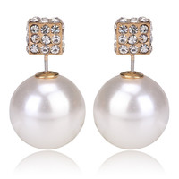 Gum Tee Tribal Earrings - Crystal Dice and Pearl White
