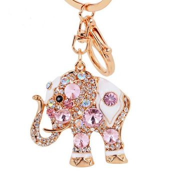 Colorful Jewelry Ring Crystal Holder Trendy Rhinestone Elephant Key Chain Pendant