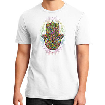Hamsa Hand Amulet Psychedelic District T-Shirt (on man)