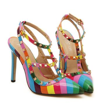 Fashion women High heels with rainbow pointed toe rivet sandals shoes