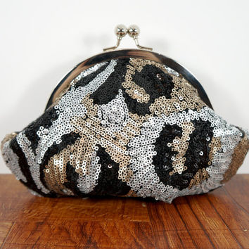 Sequin clutch, black, silver, and gold sequins, formal clutch, framed evening bag, personalized purse, sequin wristlet