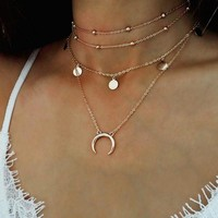 Multi-Layer Moon Choker Necklace