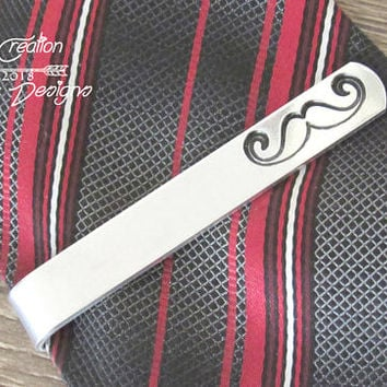 Groom Tie Clip Gift, Personalized Tie Clip for Groom Gifts, Boyfriend Beard Gifts, Mustache Gift for Him, Mustache Tie Bar
