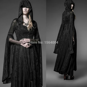 Punk Rave Gothic Long Dress Coat Jacket Cloak Womens Black Visual kei Steampunk  Witch Wicca
