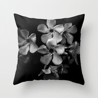 Oleander flowers in black and white Throw Pillow by VanessaGF