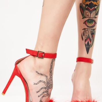 Cherry Chemistry Feather Barely There Heels
