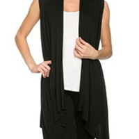 Black Sleeveless Knitted Coat