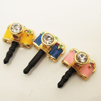 1PC Bling Crystal Cute Camera Cell Phone Earphone Jack Anti dust Plug Charm for iPhone  4s,5,5c,5s, Samsung, HTC, Nokia