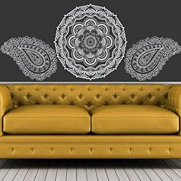 Mandala Wall Decal Ornament Geometric Indian Moroccan Pattern Namaste Lotus Flower Yoga Vinyl Sticker Decals Bedroom Bohemian Decor NV10