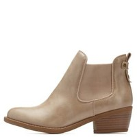 Natural Side-Gored Low Heel Chelsea Booties by Charlotte Russe