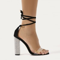 Fatale Diamante Perspex Lace Up Heels in White