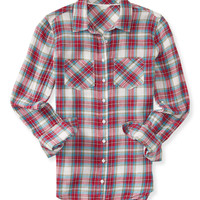 Aeropostale Womens Long Sleeve Pocket Plaid Woven Shirt - Beige,