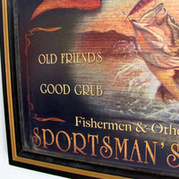 Fisherman's Wall Decoration, Sportsman's Lodge Sign, Man Cave Decoration