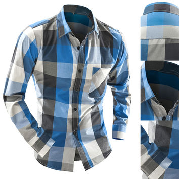 Plaid Pattern Color Block Shirt
