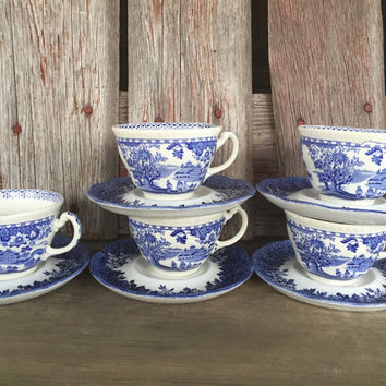 vintage blue and white transfer ware china tea cup / saucer, mismatched cup /saucer, J & G  Meakin Romantic England Anne Hathaway's cottage