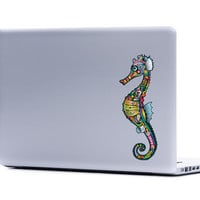 Ornate Seahorse Vinyl Laptop or Automotive Art FREE SHIPPING decal laptop notebook art sticker ornate detailed colorful psychedelic