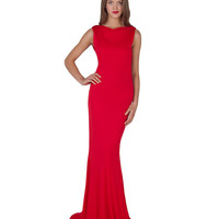 EG1196 Jersey Bow Back Evening Gown by Badgley Mischka