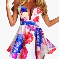 White Floral Print Strappy Cut-Out Skater Dress