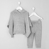 Mini girls grey hooded poncho outfit