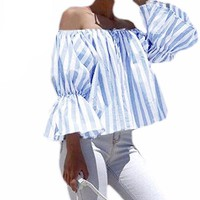 Off Shoulder Striped Tops