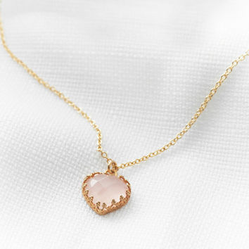 Gold heart necklace, Heart necklace, Gold necklace, Quartz stone necklace, Bridal jewelry, Dainty necklace, Birthday gift, Unique necklace