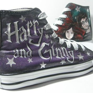 Custom Painted  hi tops  Harry and Ginny Fan art by AyinX on Etsy