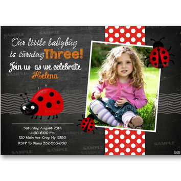 Ladybug Invitation Chalkboard Chevron Polka Dot Kids Birthday Invitation Party Design