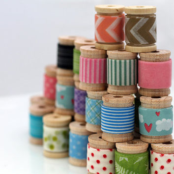 30 FEET (10 Yards) of Washi Tape - your choice of 10 wooden spools
