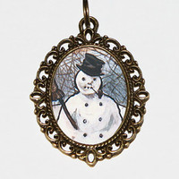Snowman Necklace, Christmas Jewelry, Winter, Holiday Jewelry, Oval Pendant