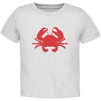 CREYCY8 Summer - Crab Faux Stitched White Toddler T-Shirt