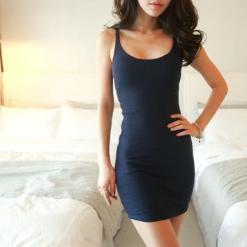 100% Cotton Casual Tight-Fitting Dress