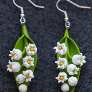 Lily of the valley earrings - polymer clay handmade pendant