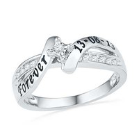 1/6 CT. T.W. Diamond Bypass Promise Ring in Sterling Silver (2 Lines) - Personalized Rings - Shared - Zales