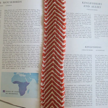 XL chevron knit bookmark - orange and white, 13 inches, coffee table book