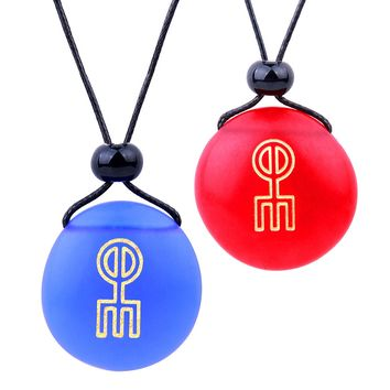 Frosted Sea Glass Stones Norse Rune Love Spell Love Couples BFF Set Amulets Royal Blue Red Necklaces